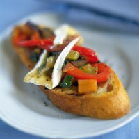 Bruschetta with ratatouille and toasted camembert recipe