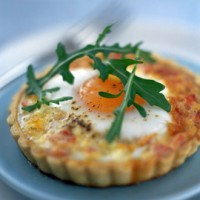 Cheese, ham and poached duck egg quiche recipe