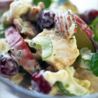 Cool turkey salad with peach mayo and toasted pecans recipe