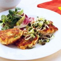 Fresh salmon fish cakes with cucumber and caper salsa recipe
