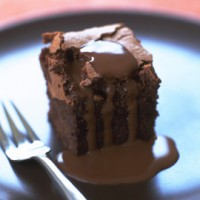 Gooey chocolate squares with hot chocolate sauce recipe