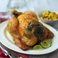 Herb-roasted chicken with spicy corn salsa recipe