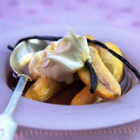 Phil Vickery's apple bananas with toffee vanilla sauce recipe