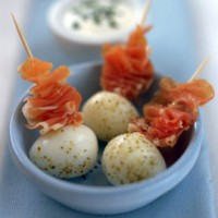 Quails� eggs with parma ham	 recipe