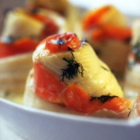 Plaice and smoked salmon spirals with vodka cream recipe