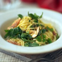 Smoked trout and rocket pasta with lemon and capers recipe