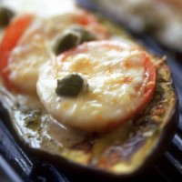 Smoky aubergine and tomato grills recipe