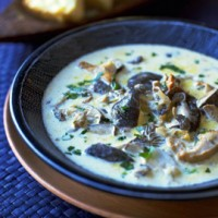 Wild mushrooms and garlic soup recipe