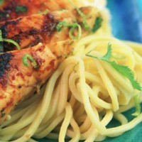 Maple-spiced chicken with red onion noodles recipe