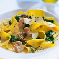 Spinach and mushroom pappardelle recipe