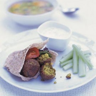 Falafel, salsa and pitta bread recipe