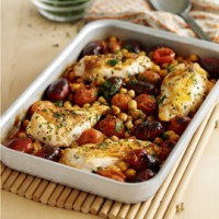 Oven-baked chicken breasts with chorizo and chickpeas recipe