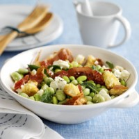 Broad bean, feta and crisp Parma ham with lemon dressing recipe