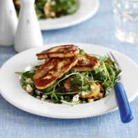Giant couscous, courgette and rocket with halloumi recipe
