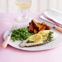 Parcel-baked sole, dill crushed peas and sweet potato wedges recipe