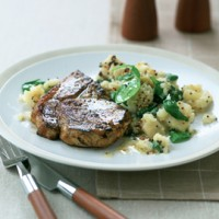 Pork chops with celeriac mash recipe