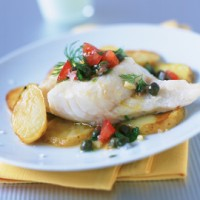Baked cod with anchovy salsa recipe