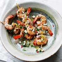 Prawns with chilli and feta recipe