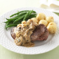 Steak with Stilton, mushroom and Marsala sauce recipe