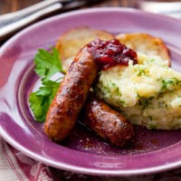 Sausages with parsnip and apple mash recipe