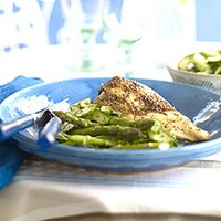 Baked chicken with pickled cucumber salad and asparagus recipe
