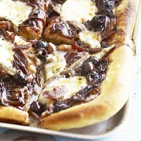Caramelised red onion and anchovy pizza with black olives recipe