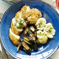 Chicken supremes with lemon-thyme butter and baked courgettes recipe