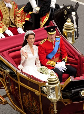 Kate and William's procession-Prince william and kate middleton royal wedding photos-woman and home