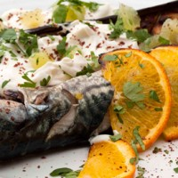 Barbecued mackerel with baked aubergines and yogurt dressing recipe