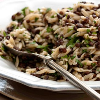 Orzo and lentil salad