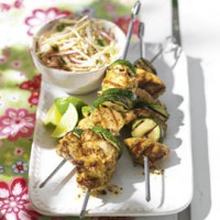 Spiced chicken kebab and lime coleslaw recipe