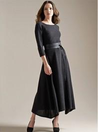 Eileen Fisher Ballet Neck Knitted Wool Dress