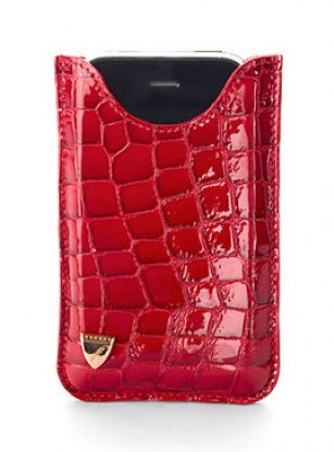 Aspinal of London Red Patent Croc iPhone Case