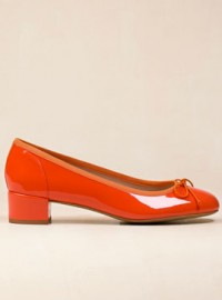 Massimo Dutti Orange Medium-Heel Patent Leather Ballerina