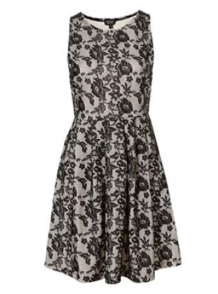Topshop Bonded Lace Skater Dress