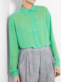 Acne Jade Green Silk Shirt