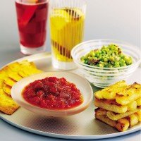 Spicy Tomato Dip with Chunky Chips