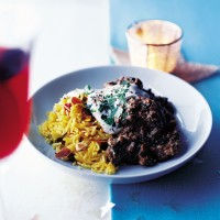Creamy spiced lamb with almonds and nutty rice recipe
