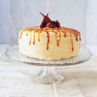 Apple Walnut Cake with Caramel Frosting
