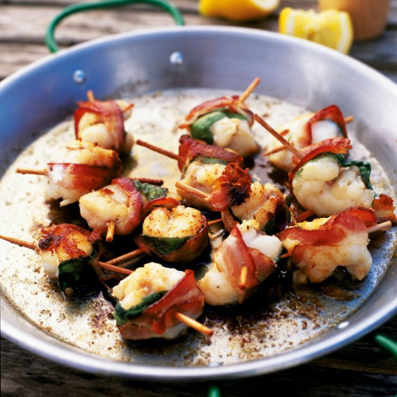 Monkfish kebabs with bacon and sage woman and home for Monk fish recipes