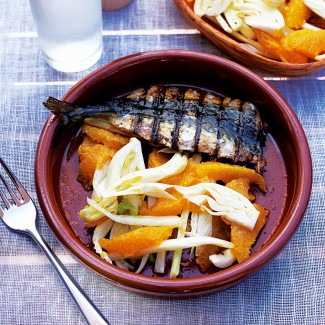 Barbecued mackerel with fennel and orange salad recipe