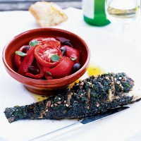 Sea bass with minty vinaigrette recipe