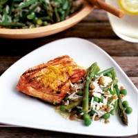 Salmon with citrus butter and green rice salad recipe