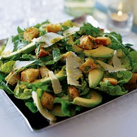 Rocket, baby gem and avocado salad with Parmesan croutons recipe