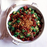 Christmas lunch: Sprouts with crunchy bacon, chestnuts and buttered garlic crumbs recipe