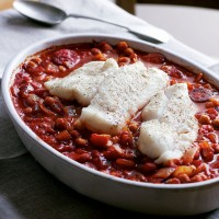 Cod, chorizo and chickpea casserole recipe