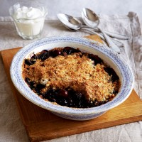 Dark berry, crunchy, nutty crumble recipe