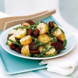 New potato and bean salad with crunchy chorizo recipe