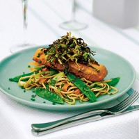 Poached salmon with crispy cabbage and chilled noodles recipe