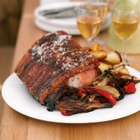 Loin of pork with crackling and roasted fennel and peppers recipe
